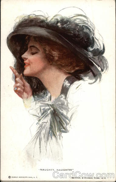 Naughty, Naughty Woman in large Black Hat Harrison Fisher
