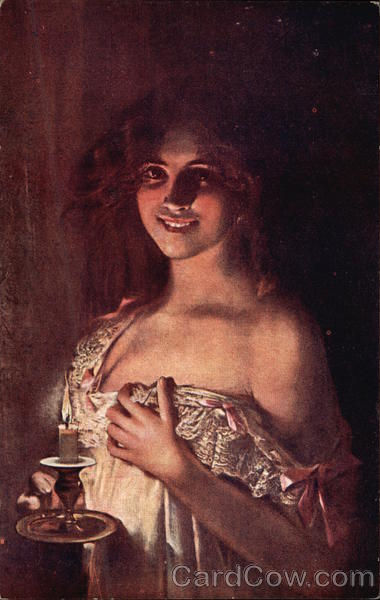 Portrait of Woman in Nightgown by Candlelight L. Commere