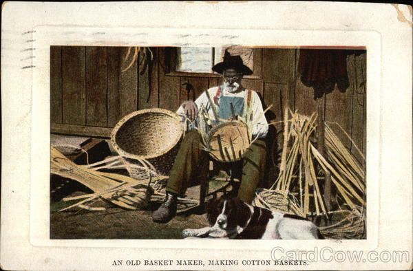 An Old Basket Maker, Making Cotton Baskets Black Americana