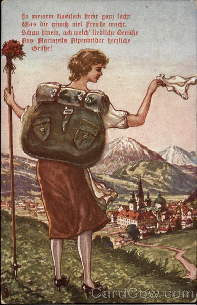 Austrian Woman Climbing Mountain With Backpack