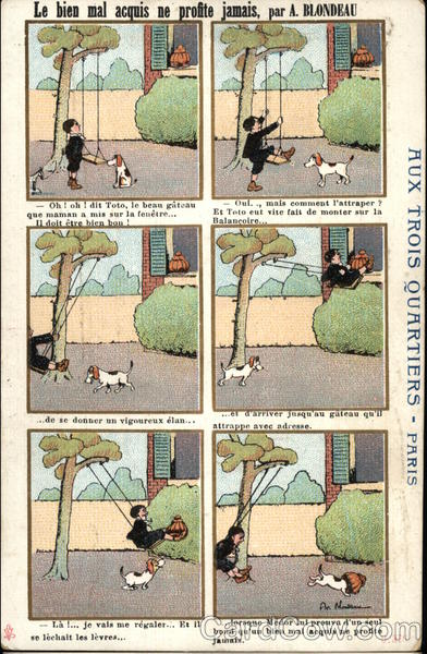 Six-Pane French Cartoon of Boy on Swing With Dog Comic, Funny