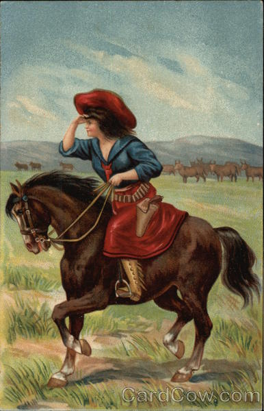 Cowgirl Riding Horseback on Prairie Cowboy Western