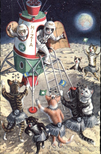 Astronaut Cats in Rocket on Crater Covered Planet Alfred Mainzer