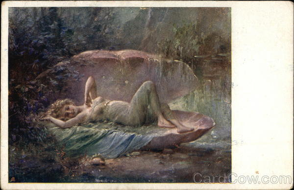 The Pearl - Young Woman Reclining in Clam Shell Zatzka