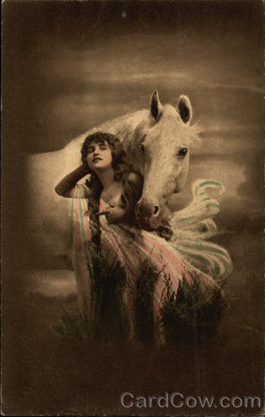 Woman Standing with White Horse in the Moonlight Horses