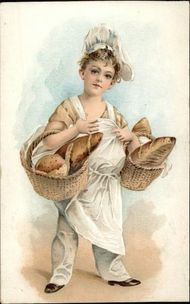 Boy dressed as Baker carrying Loaves of Bread Cooking