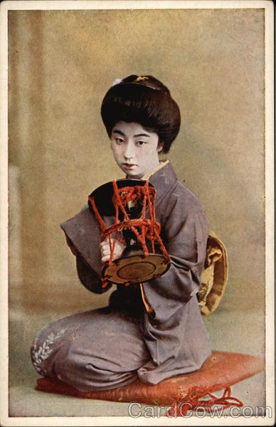 Geisha Girl Kneeling on Pillow Asian