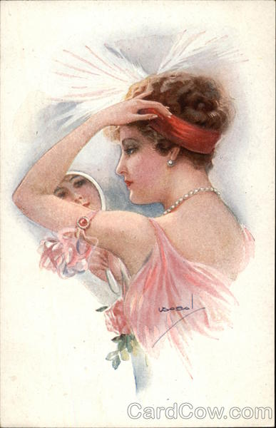 Woman Gazing in Hand Mirror Wearing Pearls Usabal Women