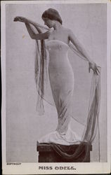 """Miss Odell"" standing on a Pedestal Postcard"