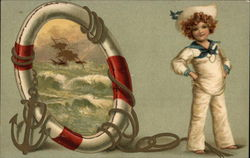 Sailor Boy with Life Saver Ring and Anchor