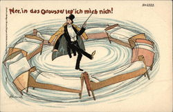 Magician spinning beds  Postcard