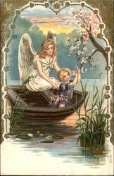 Angel Watching Over Young Child in a Boat