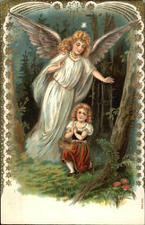 Guardian Angel Looking Out for Little Girl Lost in the Woods