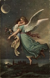 Angel holding Small Child in the Night Sky