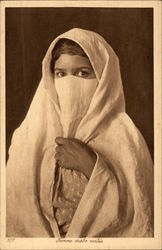 Arabic Woman wearing Veiled Head-covering