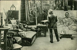 F. I. Shalyapin Posing to I.E. Repin in the Winter Studio of the Penates, February, 1914