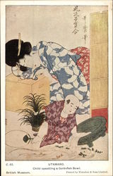 """Child upsetting a Goldfish Bowl"" Woodblock"
