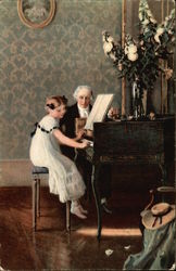 Young Girl Seated at Piano