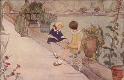 Girls Sitting by a Pool in a Garden