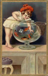 Child Playing with a Net & a Goldfish Bowl