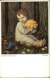Young Child holding Flowers near a Blue Bird