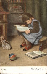 Young Girl Reading a Book with her Toys