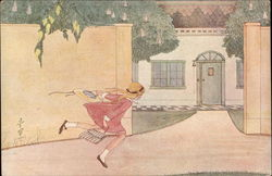 A Girl Running Past a House