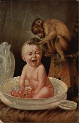 Baby Crying in Bath with Monkey Grooming Head