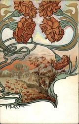 Art Nouveau Carnations and Pastoral Scene