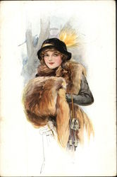 Woman wearing Black Hat, Fox Stole, and Muff