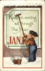 Keep on Smiling All Through the Year, Jan. 1 Postcard
