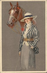 Woman in Blue standing with Horse