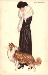 Woman in Black with Collie Dog