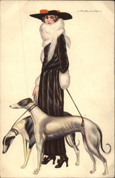 Woman in Furs with Greyhounds Postcard