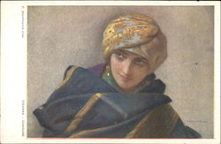 """Curious"" - Woman in Gold Turban and Gold Earrings"