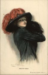 """Pretty - Cold"" - Woman in Black Hat with Red Plumes Postcard"