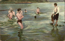 Boys Swimming in River