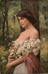 Woman Holding Daisies