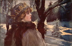 Woman in Jeweled Hat Standing in the Snow