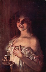 Portrait of Woman in Nightgown by Candlelight