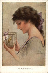 Young Woman holding a Small Bird in a Cage