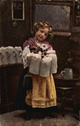 Young German Girl Carrying Tankards of Ale