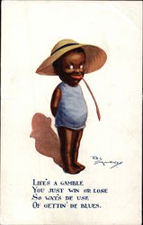 """Life's a Gamble..."" - Black Child in Big Hat Postcard"