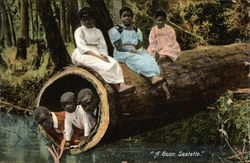 A Coon Sextette - Black Children Sitting on a Log