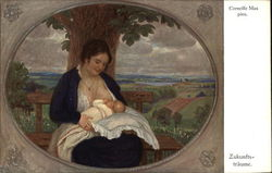 Breastfeeding Mother Sitting on a Bench