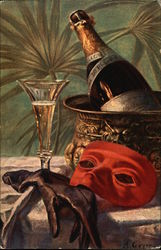 Champagne Bottle and Glass, With Mask and Gloves