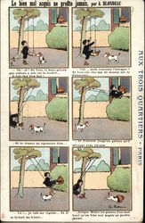 Six-Pane French Cartoon of Boy on Swing With Dog