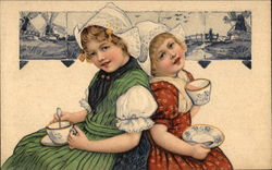 Dutch Children Drinking Tea