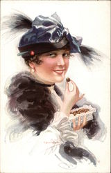 Woman Eating Chocolates from a Box Postcard