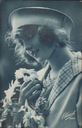 Woman Holding Bouquet of Daisies